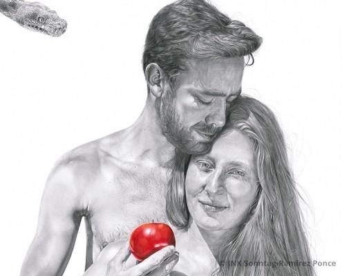 Detail aus dem Werk Adam und Eva